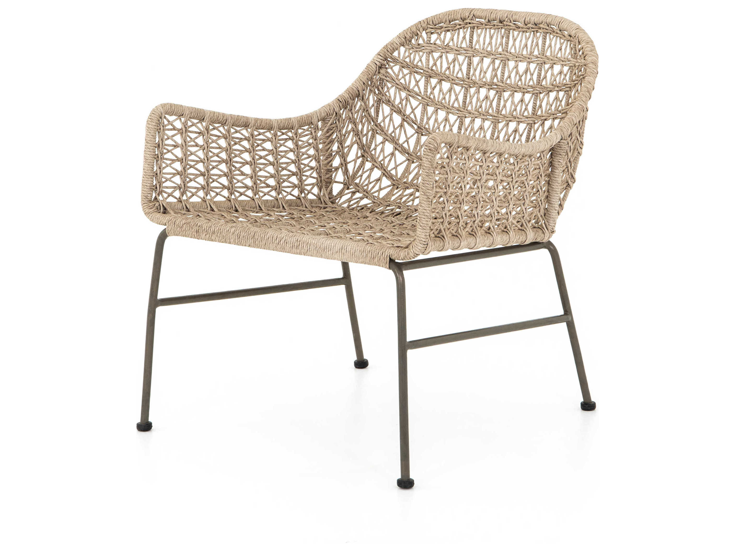 Four Hands Outdoor Grass Roots Bronze Vintage White Wrought Iron Wicker Lounge Chair Fhojlan138a