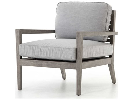 Four Hands Outdoor Grass Roots Canvas Granite / Weathered Grey Teak Cushion Lounge Chair