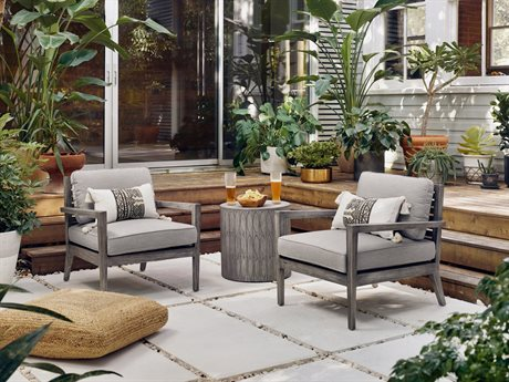 Four Hands Outdoor Grass Roots Teak Cushion Lounge Set