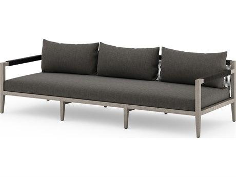 Four Hands Outdoor Solano Charcoal / Weathered Grey Dark Rope Teak Cushion Sofa