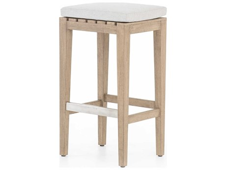 Four Hands Outdoor Solano Washed Brown / Stone Grey Brushed Steel Teak Cushion Bar Stool