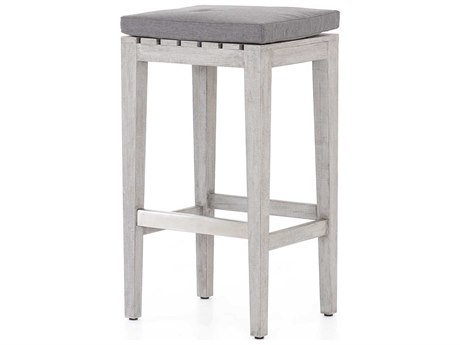 Four Hands Outdoor Solano Charcoal / Weathered Grey Brushed Steel Teak Cushion Bar Stool