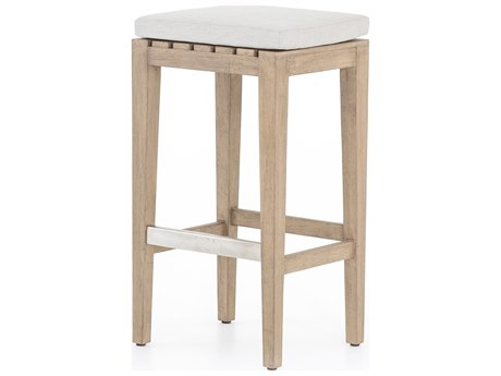 Four Hands Outdoor Solano Washed Brown / Stone Grey Brushed Steel Teak Cushion Counter Stool