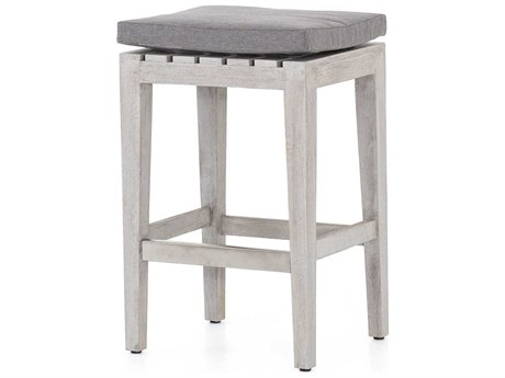 Four Hands Outdoor Solano Charcoal / Weathered Grey Brushed Steel Teak Cushion Counter Stool