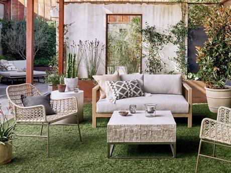 Four Hands Outdoor Solano Teak Wicker Cushion Lounge Set