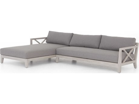 Four Hands Outdoor Solano Charcoal / Weathered Grey Teak Cushion Sofa