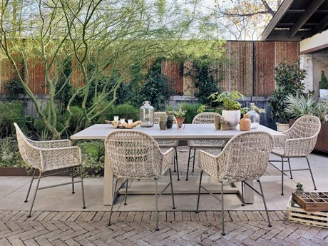 Four Hands Outdoor Solano Wicker Wrought Iron Dining Set