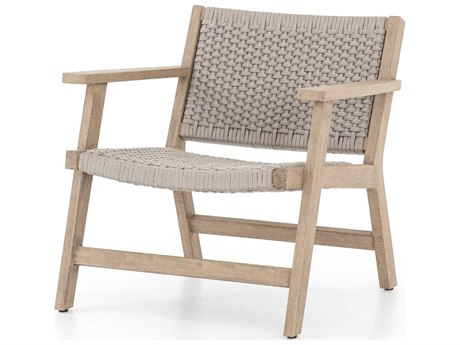Four Hands Outdoor Solano Thick Grey Rope / Washed Brown Teak Strap Lounge Chair
