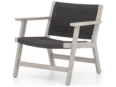 Four Hands Outdoor Solano Thick Dark Grey Rope / Weathered Teak Strap Lounge Chair