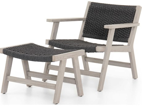 Four Hands Outdoor Solano Thick Grey Rope / Weathered Teak Strap Lounge Set PatioLiving
