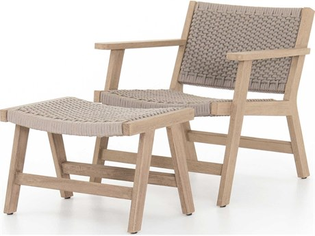 Four Hands Outdoor Solano Thick Grey Rope / Washed Brown Teak Strap Lounge Set PatioLiving