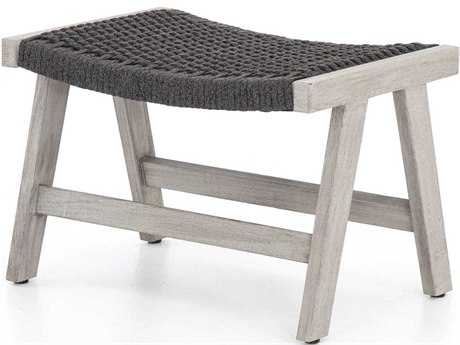 Four Hands Outdoor Solano Thick Dark Grey Rope / Weathered Teak Strap Ottoman PatioLiving