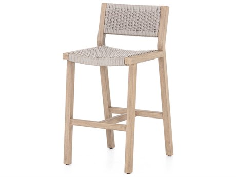 Four Hands Outdoor Solano Thick Grey Rope / Washed Brown Teak Strap Bar Stool PatioLiving