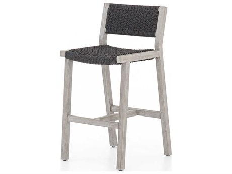 Four Hands Outdoor Solano Thick Dark Grey Rope / Weathered Teak Strap Bar Stool PatioLiving