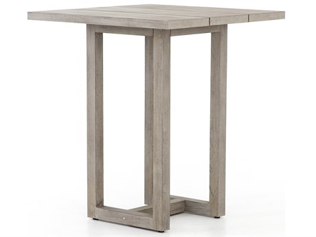 Four Hands Outdoor Solano Weathered Grey 35'' Wide Teak Square Bar Table PatioLiving