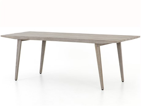 Four Hands Outdoor Solano Weathered Grey 86'' Wide Teak Rectangular Dining Table PatioLiving