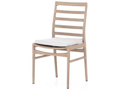 Four Hands Outdoor Solano Stone Grey / Washed Brown Teak Cushion Dining Chair