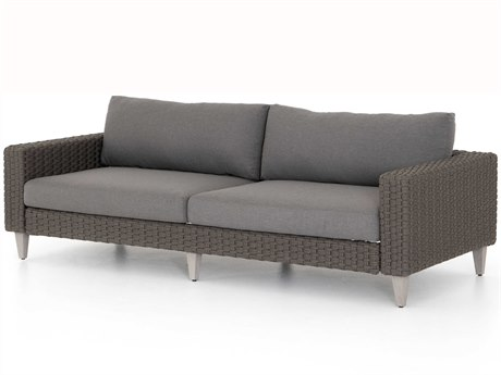 Four Hands Outdoor Solano Charcoal / Rope Weathered Grey Teak Cushion Sofa PatioLiving