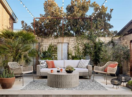 Four Hands Outdoor Solano Teak Wicker Wrought Iron Cushion Lounge Set