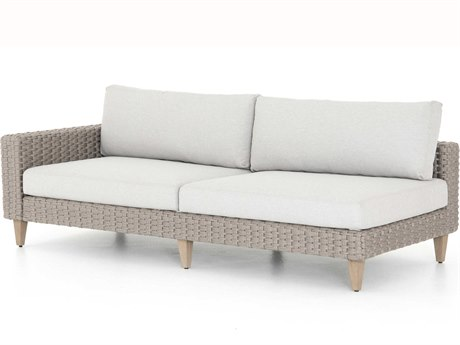 Four Hands Outdoor Solano Stone Grey / Light Rope Washed Brown Teak Cushion Left Arm Facing Sofa PatioLiving