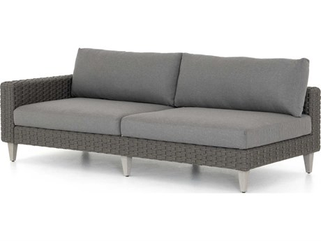 Four Hands Outdoor Solano Charcoal / Rope Weathered Grey Teak Cushion Left Arm Facing Sofa