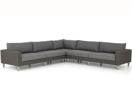Four Hands Outdoor Solano Charcoal / Light Grey Rope Washed Brown Teak Cushion Sofa PatioLiving