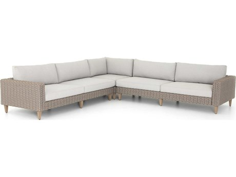 Four Hands Outdoor Solano Stone Grey / Light Rope Washed Brown Teak Cushion Sofa PatioLiving
