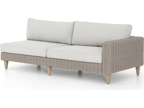 Four Hands Outdoor Solano Stone Grey / Light Rope Washed Brown Teak Cushion Right Arm Facing Sofa