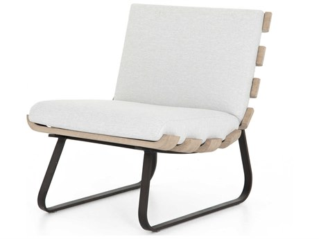 Four Hands Outdoor Solano Bronze / Stone Grey Washed Brown Aluminum Teak Cushion Lounge Chair PatioLiving