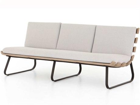 Four Hands Outdoor Solano Bronze / Stone Grey Washed Brown Aluminum Teak Cushion Sofa