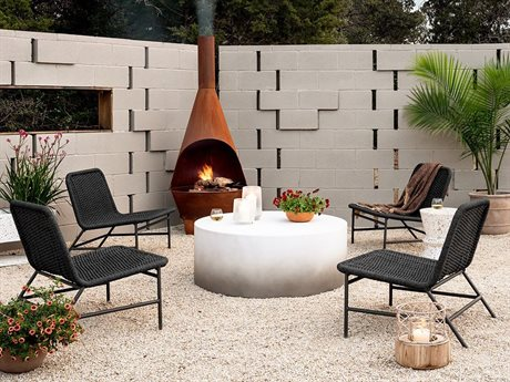 Four Hands Outdoor Solano Aluminum Wicker Strap Lounge Set
