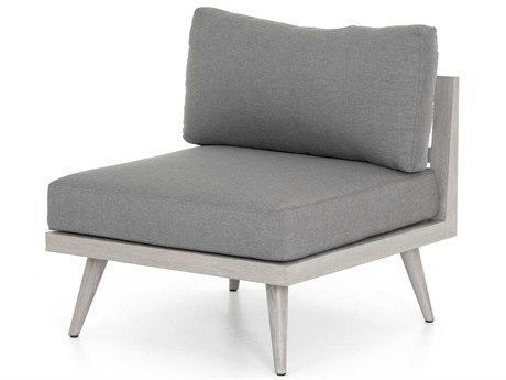 Four Hands Outdoor Solano Charcoal / Weathered Grey Teak Cushion Lounge Chair