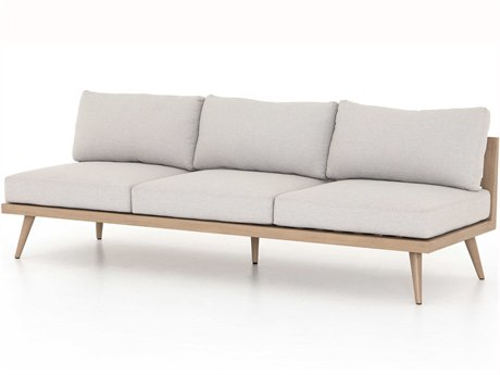 Four Hands Outdoor Solano Stone Grey / Washed Brown Teak Cushion Sofa