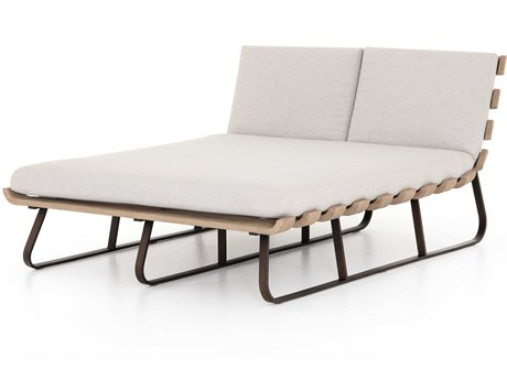 Four Hands Outdoor Solano Bronze / Stone Grey Washed Brown Aluminum Teak Cushion Chaise Lounge PatioLiving