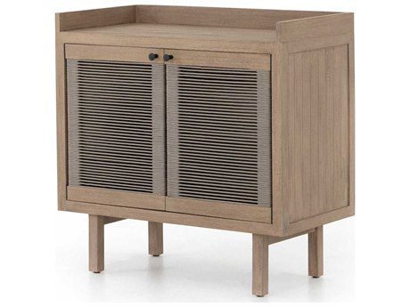 Four Hands Outdoor Solano Washed Brown 35'' Wide Teak Rectangular Alma Cabinet PatioLiving