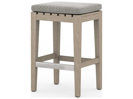 Four Hands Outdoor Solano Teak Cushion Counter Stool PatioLiving