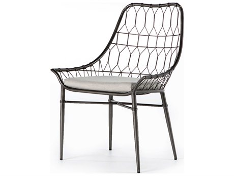 Four Hands Outdoor Palmer Silver River / Vintage Metal Wrought Iron Cushion Dining Chair