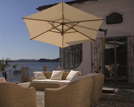 FIM C-series Teak/Aluminum 10.5 Foot Hexagon Offset Umbrella PatioLiving