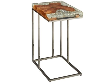 Furniture Classics Fusion Teak & Shattered Glass / Polished Steel 20''W x 14''D Rectangular End Table