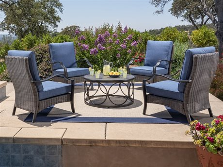 Foremost Casual Laurelton Brown Wicker 5 Piece Deep Seating Set in Olefin Blue