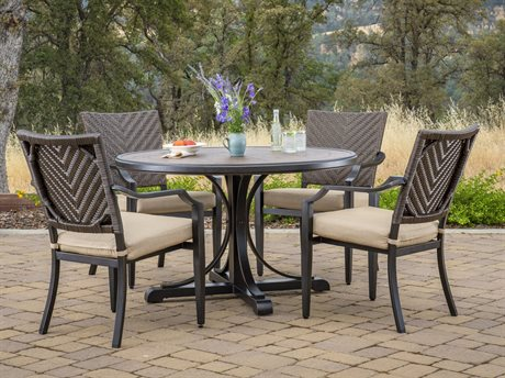 Foremost Casual Mulberry Brown Wicker 5 Piece Dining Set in Sunbrella Method Stone FOR501900K1
