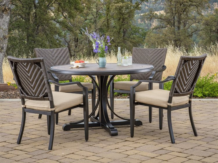 Delicieux Foremost Casual Mulberry Brown Wicker 5 Piece Dining Set In Sunbrella  Method Stone | 501900K1