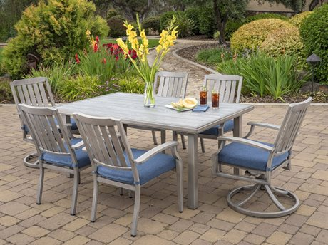 Foremost Casual Tanglewood TerraFab 7 Piece Dining Set in Olefin Blue