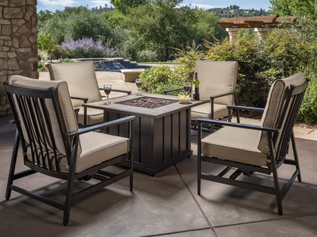Foremost Casual Hillcrest Black Aluminum and Steel 5 Piece Fire Chat Set in Sunbrella Method Stone