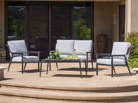 Foremost Casual Lemoore Black Steel 4 Piece Deep Seating Set in Olefin Arctic Blue