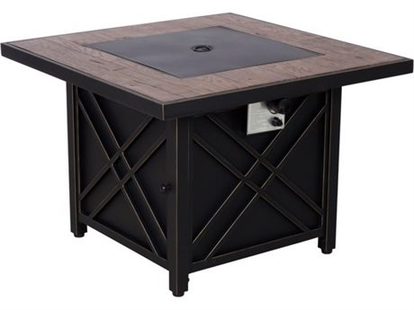 Foremost Casual Darwin 34.5 Inches Square Black Steel Fire Pit