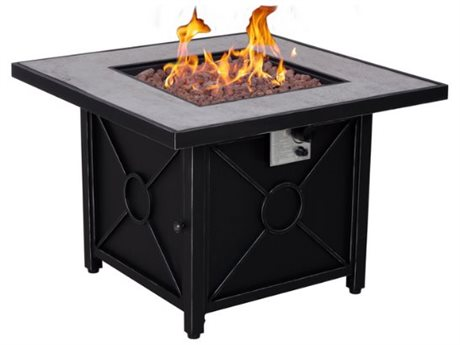 Foremost Casual Colton 34.5 Inches Square Black Steel Fire Pit