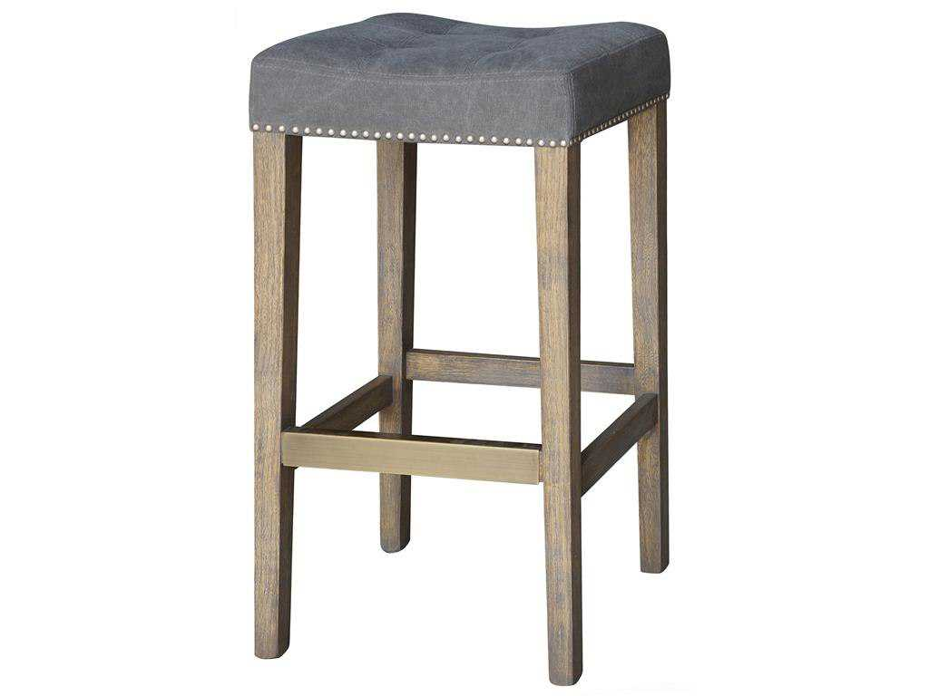 Four Hands Ashford Dark Moon Canvas Sean Barstool With Kickplate Hover to zoom