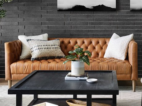 Four Hands Carnegie Natural Washed Camel / Weathered Oak Sofa Couch