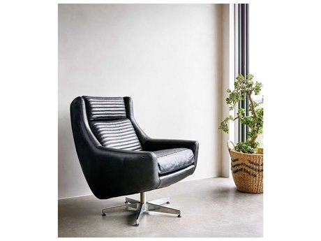 Four Hands Carnegie Rider Black Charles Swivel Chair
